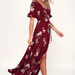 September Sunsets Burgundy Floral Print Wrap Maxi Dress | Lulus (US)