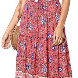 MEROKEETY Women's Boho Floral Print Elastic High Waist Pleated A Line Midi Skirt with Pockets | Amazon (US)