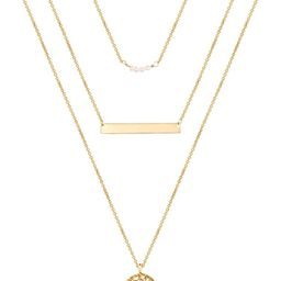 Turandoss Dainty Layered Choker Necklace, Handmade 14K Gold Plated Y Pendant Necklace Multilayer ... | Amazon (US)