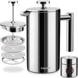 Mueller French Press Double Insulated 310 Stainless Steel Coffee Maker 4 Level Filtration System,... | Amazon (US)