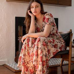 Beautiful Interlude Beige Floral Print Jacquard Wrap Maxi Dress | Lulus (US)
