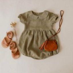 Sage Green Linen Peter Pan Collar Bubble Playsuit, Baby Linen Romper, Girl Romper | Etsy (US)