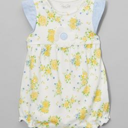 Rene Rofe Baby Girls' Rompers - Yellow & Blue Floral Bubble Bodysuit | Zulily