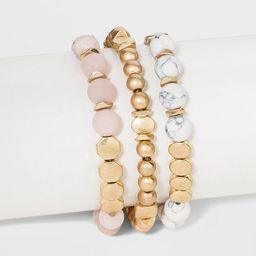 Semi-Precious White Howlite & Sunstone Stretch Bracelet Set - Universal Thread™ Worn Gold | Target