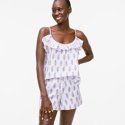Cotton-linen ruffle tank pajama set in budding branch print | J.Crew US