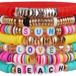 yansport Colorful Surfer Stretch Bracelet, Letter Vinyl Beads Bracelet Set, Handmade Elastic Rope... | Amazon (US)