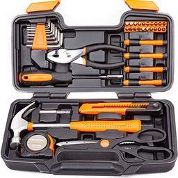 CARTMAN Orange 39-Piece Tool Set - General Household Hand Tool Kit with Plastic Toolbox Storage C... | Amazon (US)