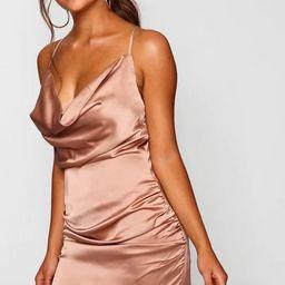 Florence Satin Cowl Neck Bodycon Dress | Boohoo.com (US & CA)