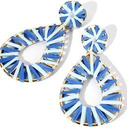 Boho Raffia Earrings Statement Teardrop Earrings Drop Dangle Bohemian Earrings | Amazon (US)