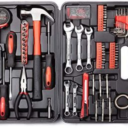 Cartman 148Piece Tool Set General Household Hand Tool Kit with Plastic Toolbox Storage Case Socke... | Amazon (US)