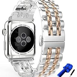 HUANLONG Compatible with Apple Watch Band, Solid Stainless Steel Metal Replacement Watchband Brac...   Amazon (US)