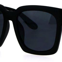 Womens Boyfriend Style XXL Oversize Horned Rim Thick Plastic Sunglasses | Amazon (US)