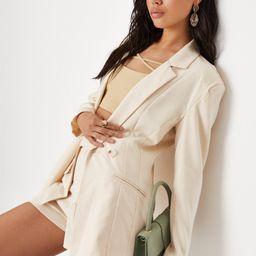 Ecru Linen Look Fitted Blazer   Missguided (US & CA)