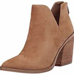 FISACE Womens Pointed Toe Stacked Mid Heel Ankle Boots V Cut Back Zipper Faux Leather Booties | Amazon (US)