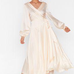 Satin Long Sleeve Cowl Back Maxi Dress   NastyGal