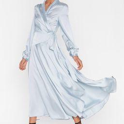 Satin Long Sleeve Wrap Maxi Dress   NastyGal