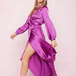 Satin Wrap Long Sleeve Maxi Dress   NastyGal