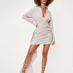 Textured Stripe Draped Shirt Mini Dress   NastyGal