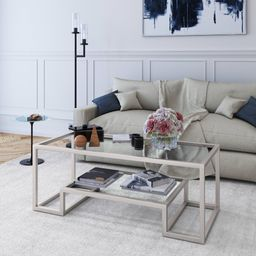 Evelyn&Zoe Contemporary Coffee Table with Glass Top and Shelf | Walmart (US)