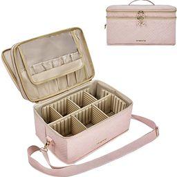 Large Makeup Bag, BAGSMART Double Layer Cosmetic Makeup Organizer Travel Makeup Train Case with S... | Amazon (US)