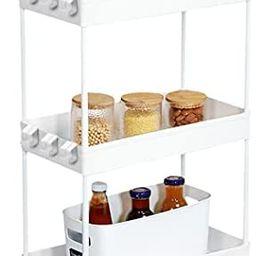 Conworld Slim Storage Cart, 3 Tier Bathroom Storage Organizer Cart Kitchen Storage Cart Mobile Sh... | Amazon (US)