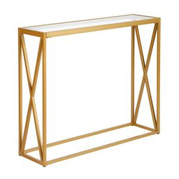 Meyer&Cross Arlo 36 in. Brass/Clear Standard Rectangle Glass Console Table | The Home Depot