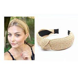 Straw Headbands Womens Fashion Hair Accessories Twist Knot Wide Hand Knitted Statement Summer Ret... | Amazon (US)