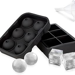 Ice Cube Trays Silicone Set of 2, Ice Ball Maker Mold, Whiskey Ice Ball Mold, Round Ice Cube Mold... | Amazon (US)