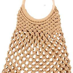 Summer Straw Beach Bag Handmade Cotton Rope Woven Handbags Fishing Net Storage Bag | Amazon (US)
