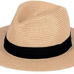 Straw Hat for Women Beach Hats Summer Sun Panama Wide Brim Floppy Fedora Cap UPF50 | Amazon (US)