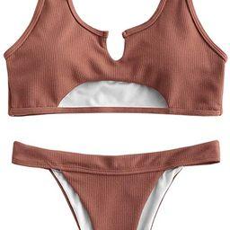 ZAFUL Women's Tie Dye V-Notch Cutout High Cut Bikini Set Two Piece Swimsuit | Amazon (US)