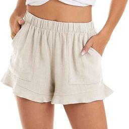 MAGCOMSEN Women's Casual Shorts Summer Comfy Beach Shorts Ruffle Hem with 2 Pockets | Amazon (US)