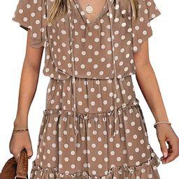 Azokoe 2021 Women Summer V Neck Sleeveless Mini Dresses Casual Swiss Dot Loose Dress | Amazon (US)