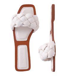 depdream Women's Open Square Toe Flat Sandals Slip On Slipper Casual Shoes | Amazon (US)