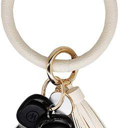 AnnabelZ Keychain Bracelet Wristlet Bangle Key Holder Round Keyring Leather Tassel Key Ring Chain...   Amazon (US)
