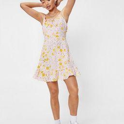 Petite Floral Polka Dot Tie Mini Dress   NastyGal