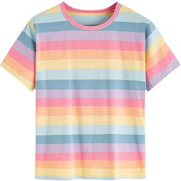 SweatyRocks Women's Casual Loose Short Sleeve Round Neck Striped Tee Shirt Top   Amazon (US)