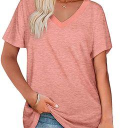 Angerella Womens T Shirts V Neck Short Sleeve Tops Summer Casual Loose Fit | Amazon (US)