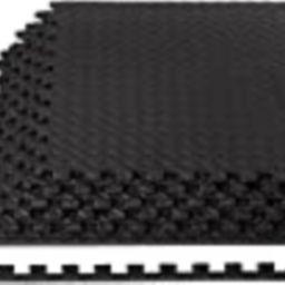 Amazon Basics Foam Interlocking Exercise Gym Floor Mat Tiles - Pack of 6, 24 x 24 x .5 Inches, Black   Amazon (US)