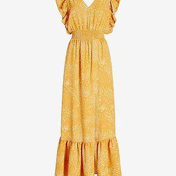 Printed Ruffle Sleeve Smocked Waist Maxi Dress   Express