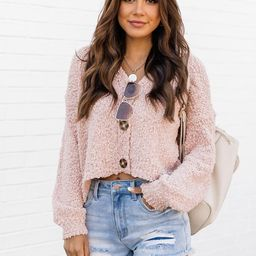 Under The Streetlights Blush Button Up Textured Cardigan   The Pink Lily Boutique