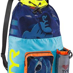 TYR Big Mesh Mummy Backpack for Wet Swimming, Gym, and Workout Gear, Blue/Yellow   Amazon (US)