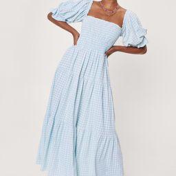 Gingham Puff Sleeve Tiered Maxi Dress | NastyGal