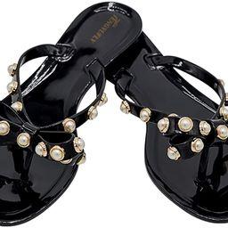 TENGYUFLY Womens Rivets Bowtie Flip Flops Jelly Thong Sandal Rubber Flat Summer Beach Rain Shoes ...   Amazon (US)