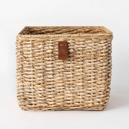 """Decorative Cube Basket with Leather Pull 13"""" x 11"""" Natural - Threshold™ designed with Studio Mc... 