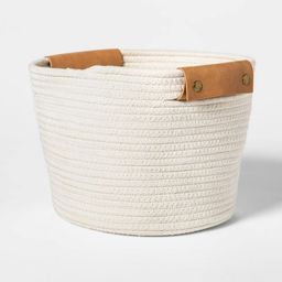 """11"""" Decorative Coiled Rope Square Base Tapered Basket Cream - Threshold™ 