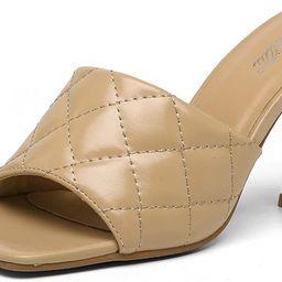 katliu Women's Square Open Toe Heeled Sandals Stiletto Heeled Mule Sandals Quilted High Heel Sand... | Amazon (US)