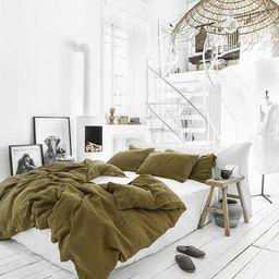 Linen bedding set in Olive Green. Linen duvet cover + 2 pillowcases. US King / Queen duvet set. | Etsy (US)