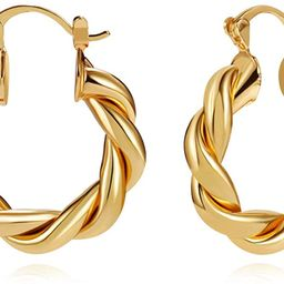 LILIE&WHITE Twisited Gold Chunky Hoop Earrings For Women 14K Gold Plated High Polished Lightweigh...   Amazon (US)