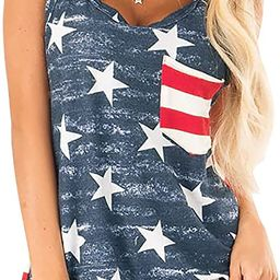 For G and PL Women 4th of July Patriotic American Flag Sleeveless Tank Top | Amazon (US)